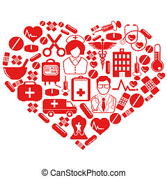 isolated red medical heart symbol from white background