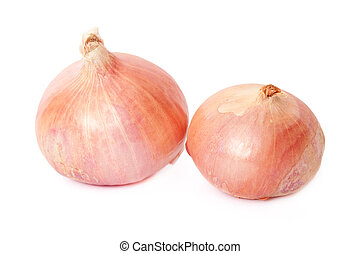 Isolated red onions with natural shadows and clipping path