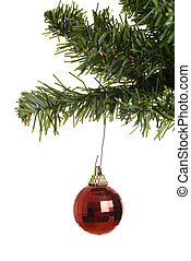 red ornament on christmas tree