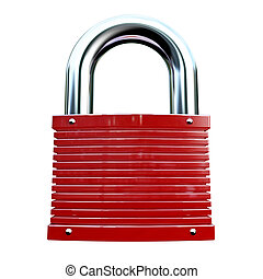 isolated red padlock