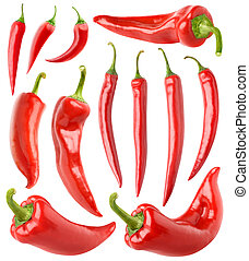 Isolated red peppers collection