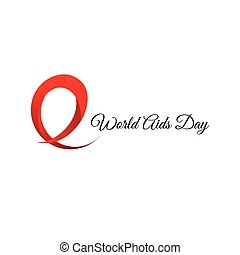 Isolated red ribbon disease awareness. World Aids Day concept. Stop virus icon. International support campaign for sick people. Vector illustration.