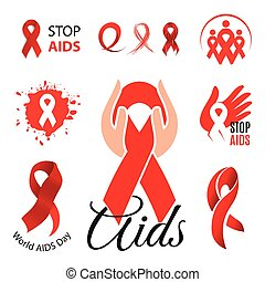 Isolated red ribbon disease awareness logo. World Aids Day concept logotype set. Stop virus icon. International support campaign for sick people. Waving scarf vector illustration.