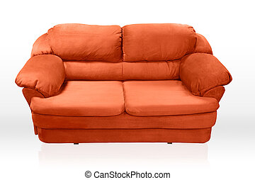 Isolated red sofa on white background. Red couch proper for furniture design.