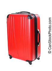 Four wheeled hard shell red suitcase