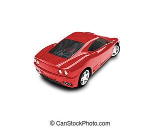 isolated red super car back view 03