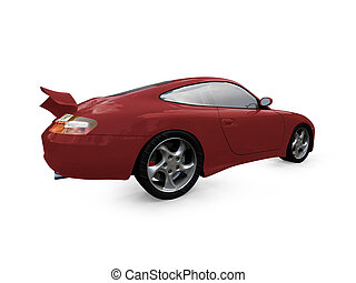 isolated red super car back view