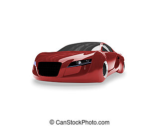 isolated red super car front view 01