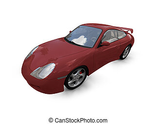 isolated red super car front view 02 - isolated red supercar...
