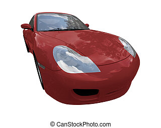 isolated red super car front view 02
