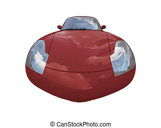 isolated red super car front view 04