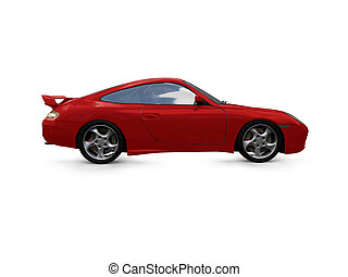 isolated red super car side view - isolated red supercar on ...