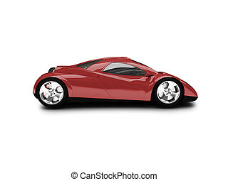 isolated red super car side view