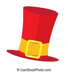 Isolated red tophat on a white background - Vector