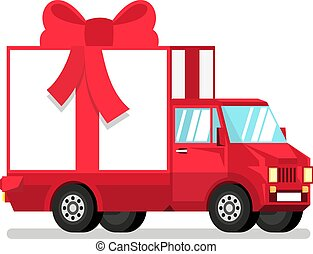 Isolated red truck with gift box in half turn