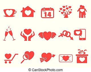 red valentine day icons set