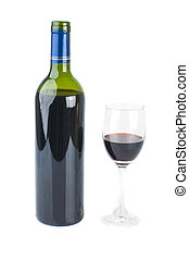 isolated red wine and bottle