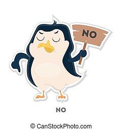 Isolated refusing penguin.