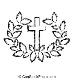 Isolated religion cross and wreath design
