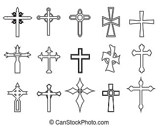 religious cross outline icons