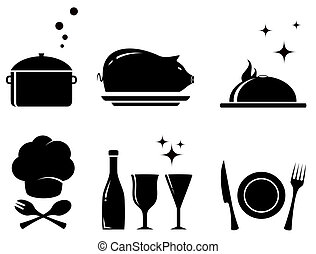 isolated restaurant food objects - set black isolated food...