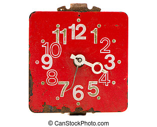 isolated retro and red clock dial