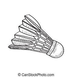 Isolated retro badminton shuttlecock on a white background,...