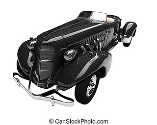 isolated retro black car front view 01