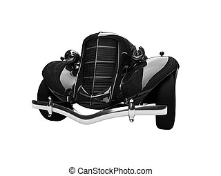 isolated retro black car front view 03