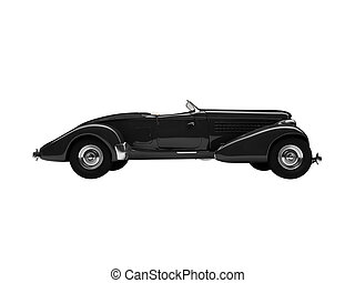 isolated retro black car side view