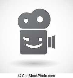 Isolated retro cinema camera icon with  a wink text face emoticon