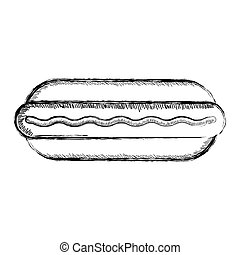 Isolated retro sketch of a hot dog