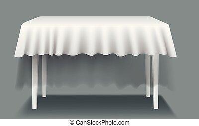 isolated., rettangolare, vettore, tavola, bianco, tovaglia, vuoto
