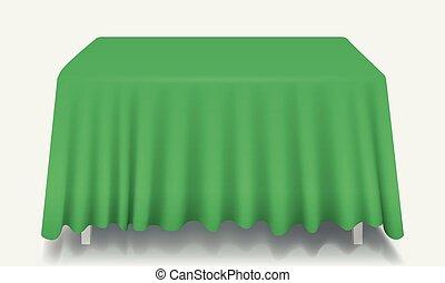 isolated., rettangolare, vettore, tavola verde, tovaglia, vuoto