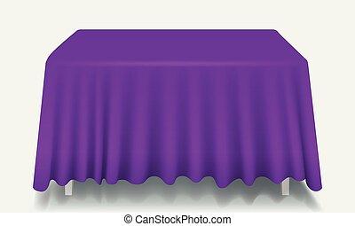 isolated., rettangolare, vettore, tavola viola, tovaglia, vuoto