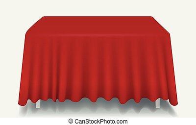 isolated., rettangolare, vettore, vuoto, tavola, tovaglia, rosso