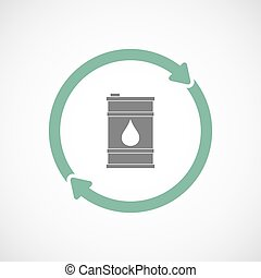 Isolated reuse icon with a barrel of oil