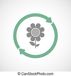 Isolated reuse icon with a flower