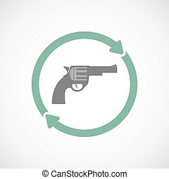 Isolated reuse icon with a gun