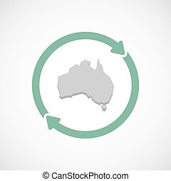 Isolated reuse icon with a map of Australia