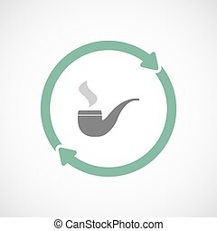 Isolated reuse icon with a smoking pipe