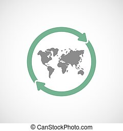 Isolated reuse icon with a world map
