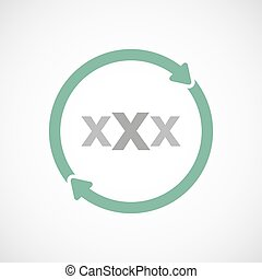Isolated reuse icon with a XXX letter icon - Illustration of...