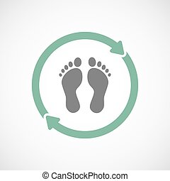 Isolated reuse icon with two footprints - Illustration of an...