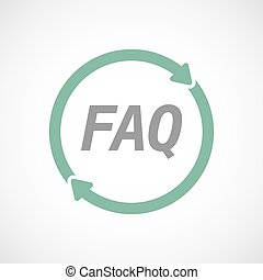 Isolated reuse sign with the text FAQ