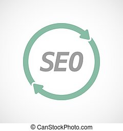 Isolated reuse sign with    the text SEO