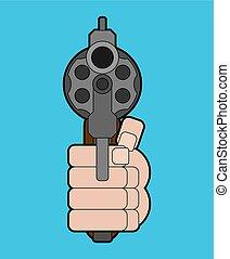 isolated., revólver, ilustração, arma, vetorial, punho, frente, vista., mão