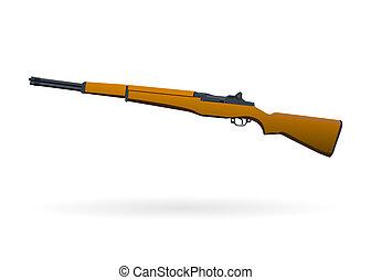 Illustrated rifle on white background