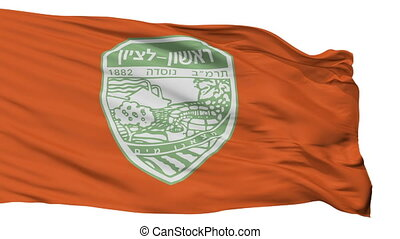 Isolated Rishon LeZion city flag, Israel - Rishon LeZion...