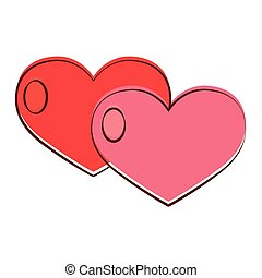Isolated romantic hearts pink